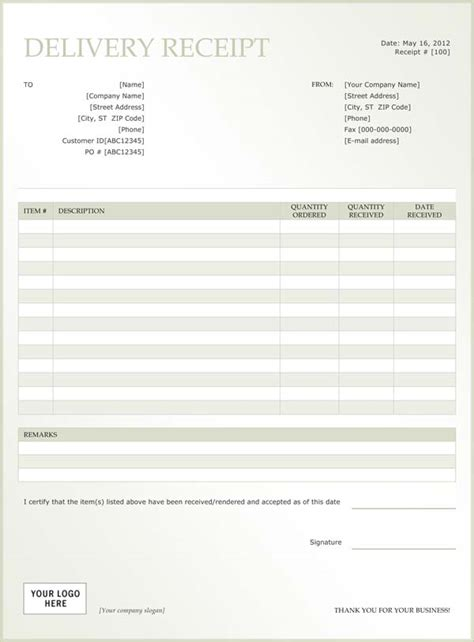Receipt Of Delivery Template by Sle Delivery Receipt