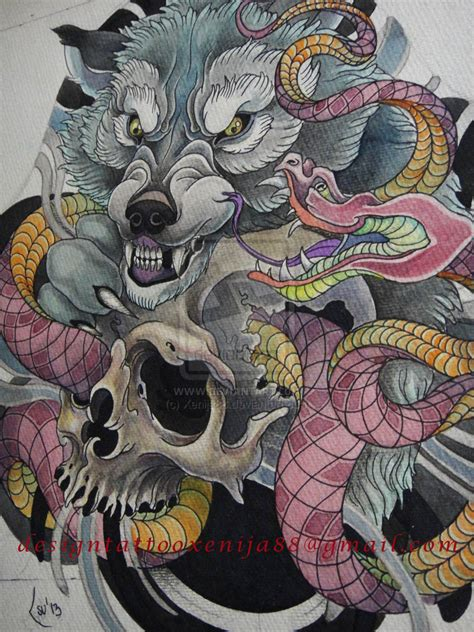 japanese skull tattoo designs design wolf snake skull by xenija88 on deviantart