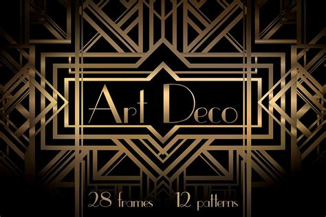 art deco art deco frames and patterns patterns creative market
