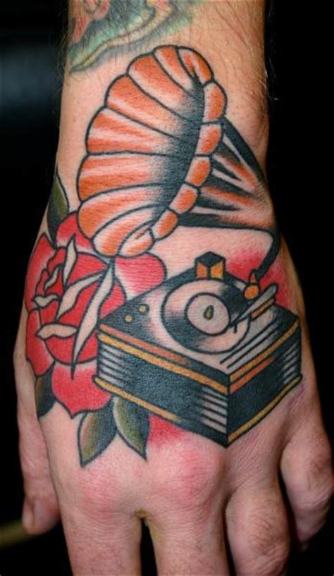 old hand gramophone tattoo by rock of age