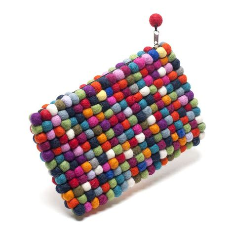 Handmade Felt - handmade felt balls clutch bag multicoloured by felt so