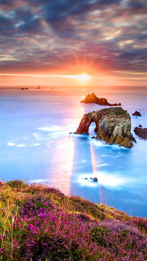 wallpaper sunrise lands  cornwall england hd