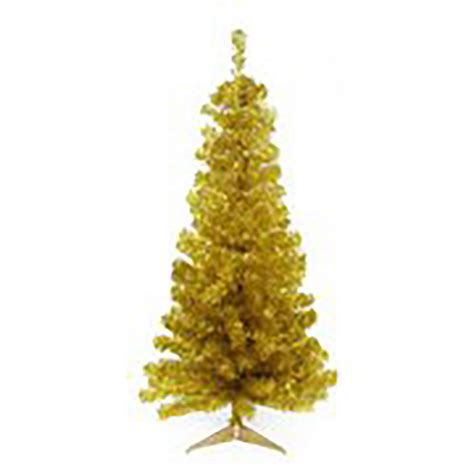 no assembly required christmas tree northlight 4 ft x 24 in unlit gold tinsel medium artificial tree 31741634 the home