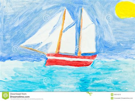 boat drawing for children s children painting sailing vessel in blue ocean stock