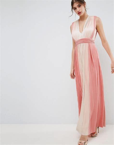 Maxi Dress Syari Pastel Realpic asos asos premium pastel stripe plunge pleated maxi dress