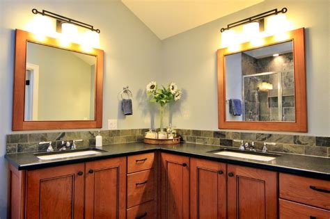 bathroom in south east corner double vanities corner pullout blind corner cabinet