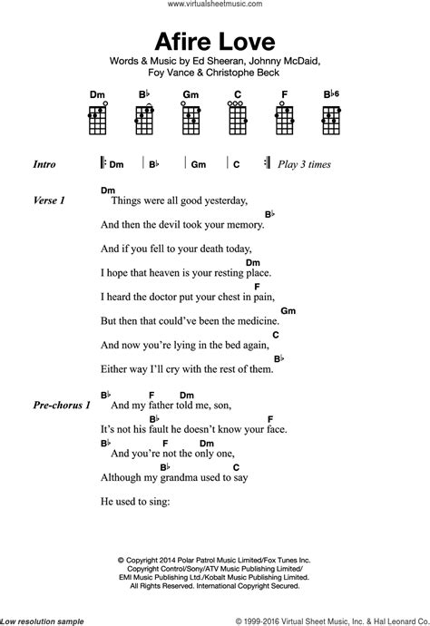 ukulele tutorial ed sheeran sheeran afire love sheet music for ukulele