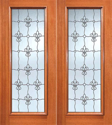 Fleur De Lis Pattern Beveled Glass Exterior Double Door Fleur De Lis Front Door