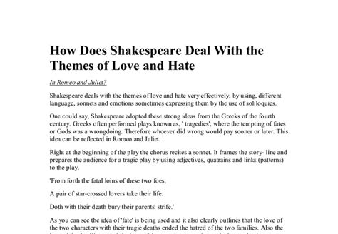 themes of romeo and juliet gcse how does shakespeare deal with the themes of love and hate