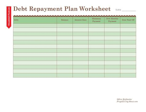 plan worksheet template how to use a debt repayment plan worksheet