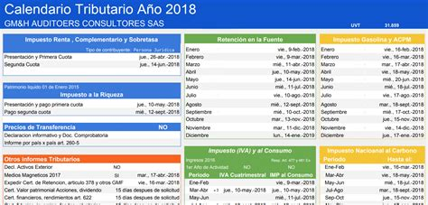 iva 2016 calendario tributario colombia 2018 calendario tributario 2018 dian gmh personalizado