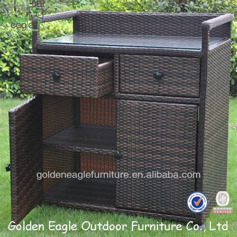 PE rattan & aluminum made outdoor storage cabinet, View