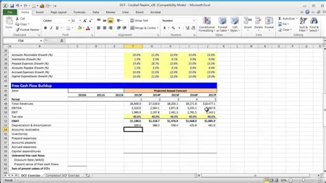dcf template discounted flow excel model images