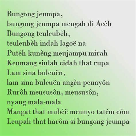 bungong jeumpa makna lirik lagu rumah adat indonesia