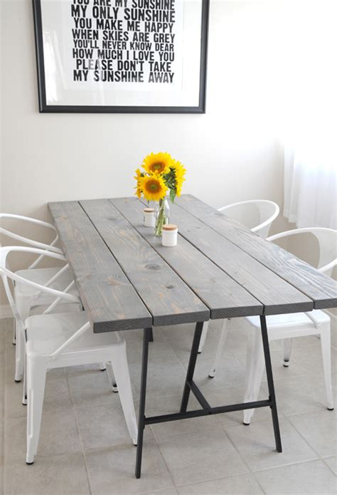 simple diy dining table with colorful legs home interior