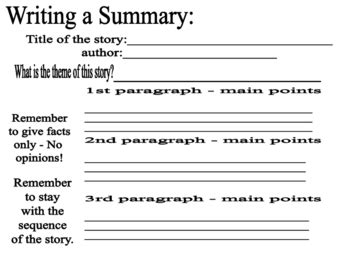 How To Write A Summary Of An Essay by Writing A Summary By Susan Millan Teachers Pay Teachers