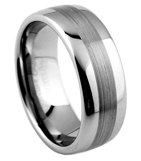 8mm mens tungsten carbide wedding band ring brushed finish