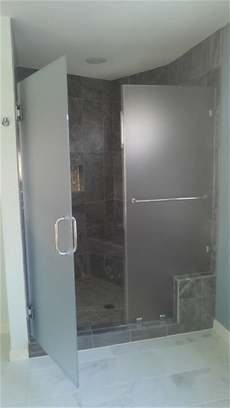 frosted frameless glass shower door with slate gray tile modern bathroom dc metro by abc