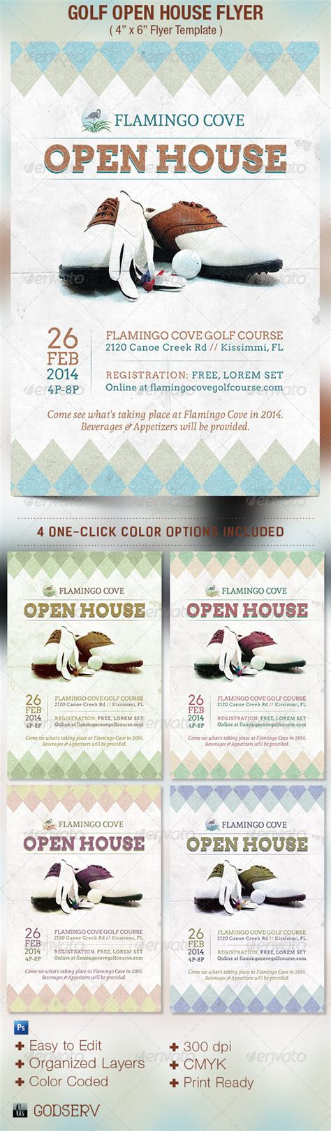 themes for open house events golf open house flyer template on behance