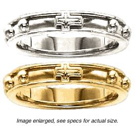 rosary ring with raised borders in 14k yellow or white