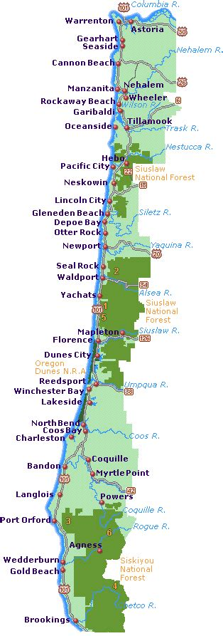road map of oregon coast