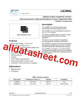 datasheet transistor mdl 3088 lis3mdl datasheet pdf stmicroelectronics