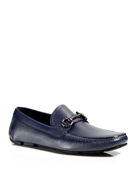 blue ferragamo loafers ferragamo parigi muflone leather driving loafers in blue