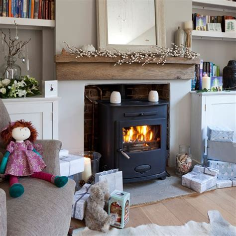 wood stove in living room neutral living room with woodburner cosy living room design ideas housetohome co uk