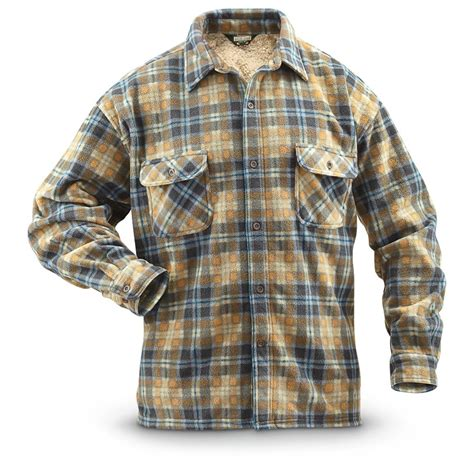 Print Fleece Lined Shirt guide gear s cpo fleece lined shirt 293308 shirts
