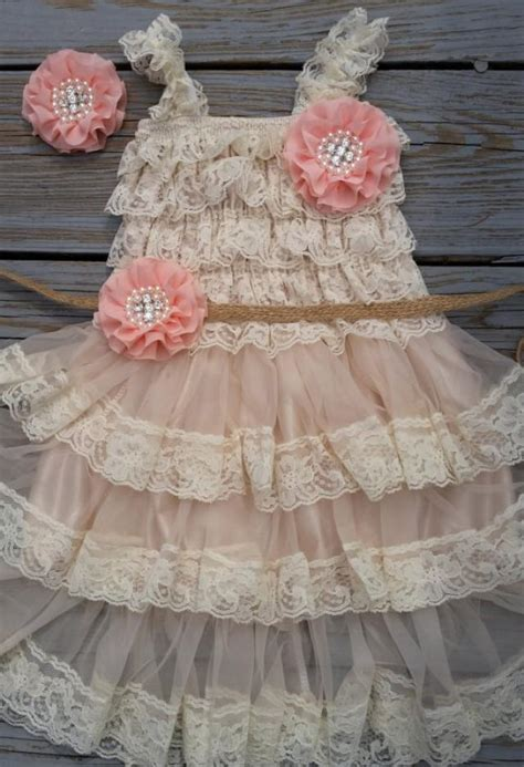 country flower girl dress rustic flower girl outfit peach