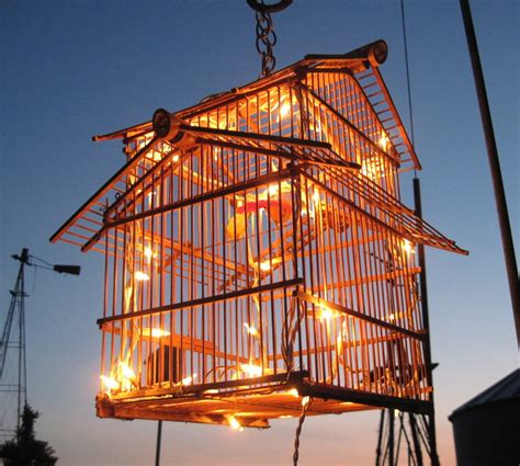 bird cage upcycled lighting for garden party or porch decor