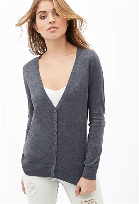 Cardigan Forever 21 forever 21 classic v neck cardigan in gray charcoal lyst
