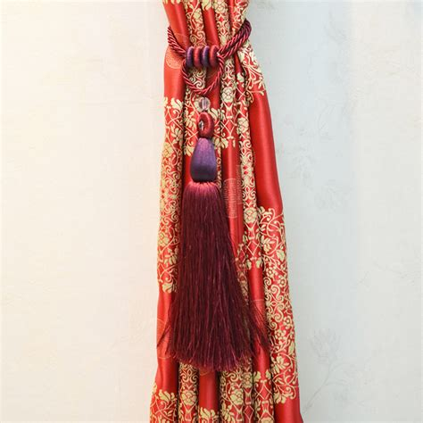 27 inch curtains 27 inch wine color polyester curtain tassel one piece