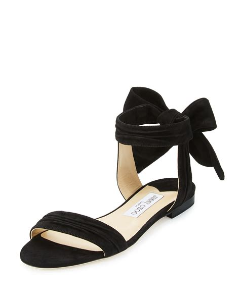 flat shoes ankle jimmy choo kora suede ankle wrap flat sandals in black lyst