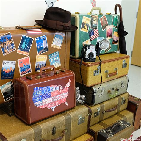 vintage travel decor decorating old luggage with vintage travel stickers
