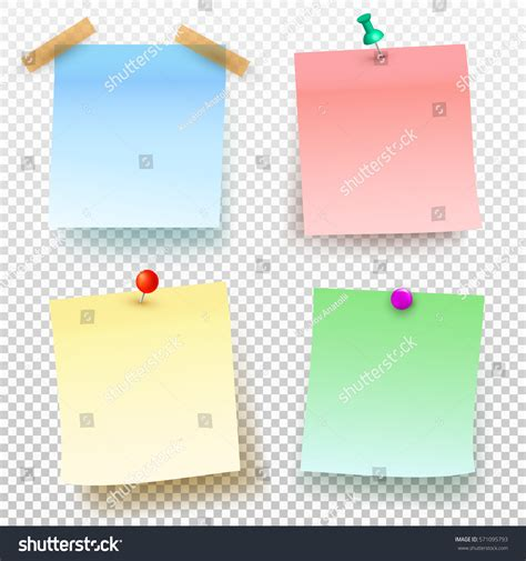 push pin template set colored sticky note push pin stock vector 571095793