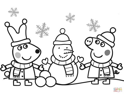 christmas colouring pages peppa pig peppa and rebecca are making snowman coloring page free