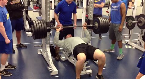 football bench press high school football player bench presses 515 pounds three