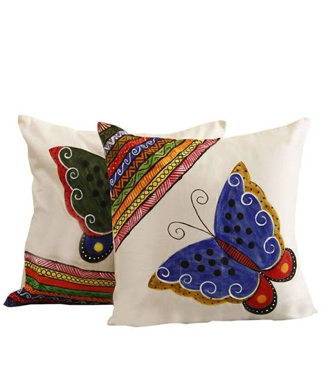Baterflay Set rang rage butterfly set of 2 white cotton painted cushion covers buy at best price