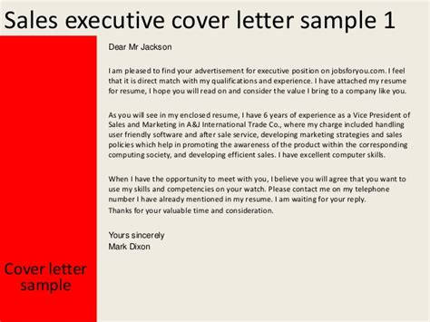 sales executive cover letter exle sales executive cover letter