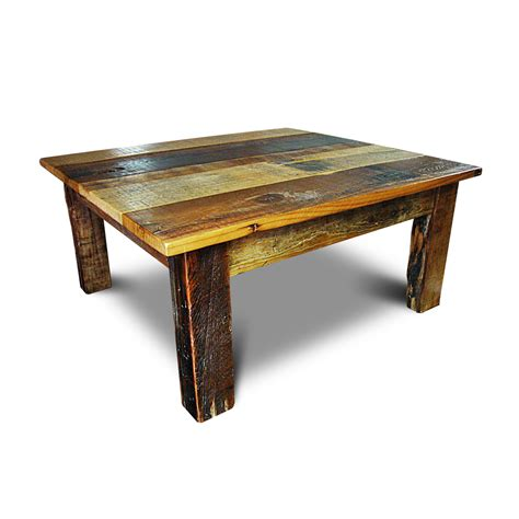Barnwood Coffee Table with Barnwood Beam Leg Coffee Table No 2