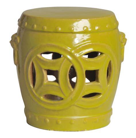 yellow garden stool fortune chartreuse yellow green pierced asian