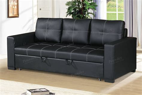 black faux leather convertible sofa  poundex