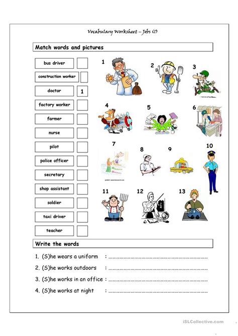 free printable english worksheets occupations vocabulary matching worksheet jobs 1 worksheet free