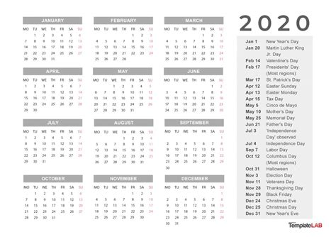 printable calendars monthly  holidays yearly template lab