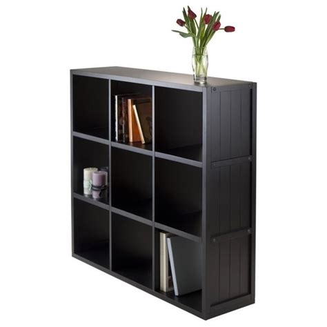 Wainscoting With Shelf 3x3 shelf with wainscoting panel in black 20040