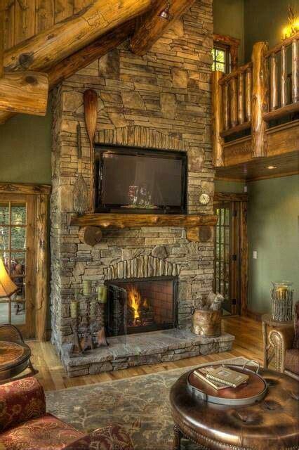 stone fireplace  log cabin   home pinterest