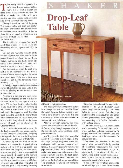 Drop Leaf Table Plans Drop Leaf Table Plans Woodarchivist