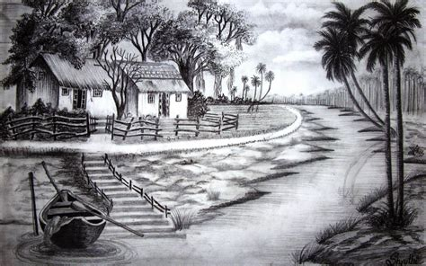 Boat Light Nature Drawing Pencil Pencil Sketch Of Nature Light And