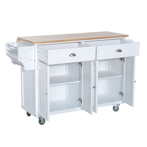Real Simple Rolling Kitchen Island In White 36 5 by Homcom 36 Deluxe Modern Drop Leaf Kitchen Island Rolling